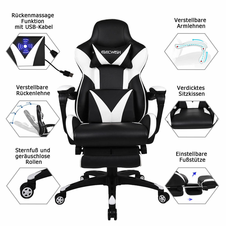 Massage Bürostuhl Schreibtischstuhl Drehstuhl Chefsessel Gaming Stuhl 150Kg DE