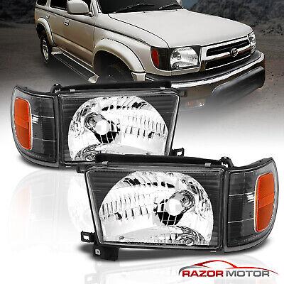 1996-1998 Black Glass Headlight + Corner Light Pair For Toyota 4Runner w/ Bulb