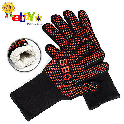PREMIUM Set of 2 Silicone Heat Resistant BBQ Grill Gloves Kitchen Oven Mitts