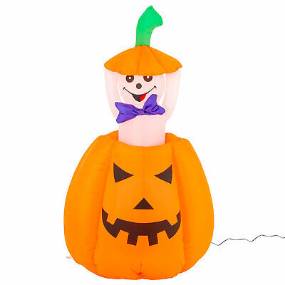 Halloween Haunters Animated 5ft Inflatable Pop Up Pumpkin Ghost Yard Decoration](Inflatable Halloween Ghost)