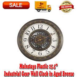 Mainstays 15.5 Gear Wall Clock Aged Bronze Finish Bold Arabic Numerals Plastic