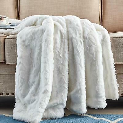 Faux Fur Blanket Soft Microfiber Plush Warm Bed Sofa Throw Blanket Throw White Plush Microfiber Sofa