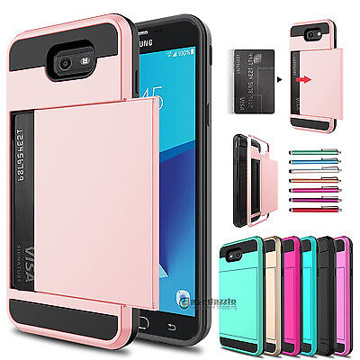 Card Pocket Wallet Hybrid Case Cover For Samsung Galaxy J7 V Sky Pro Prime 2017