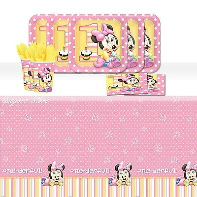 Minnie Mouse 1st Birthday Plates, Napkins, Cups,Tablecover for 16 Party Supplies