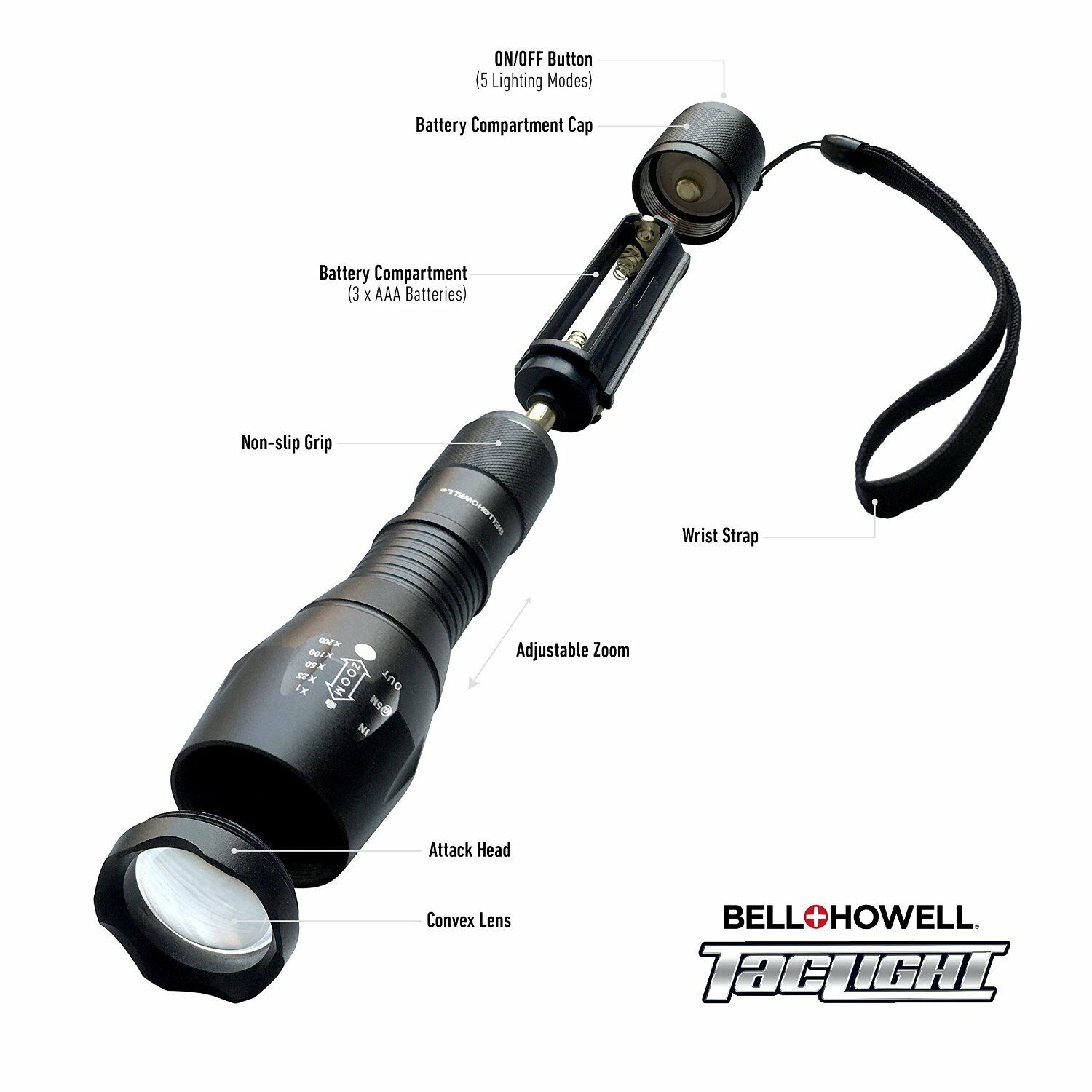 bell howell taclight high powered tactical flashlight as seen on tv new. Black Bedroom Furniture Sets. Home Design Ideas