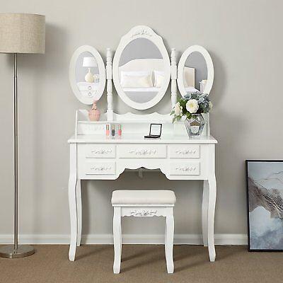 Tri-Folding Mirror Vanity Set Makeup Table 7 Drawers Bedroom Dressing Desk Wood](Mirror Table)