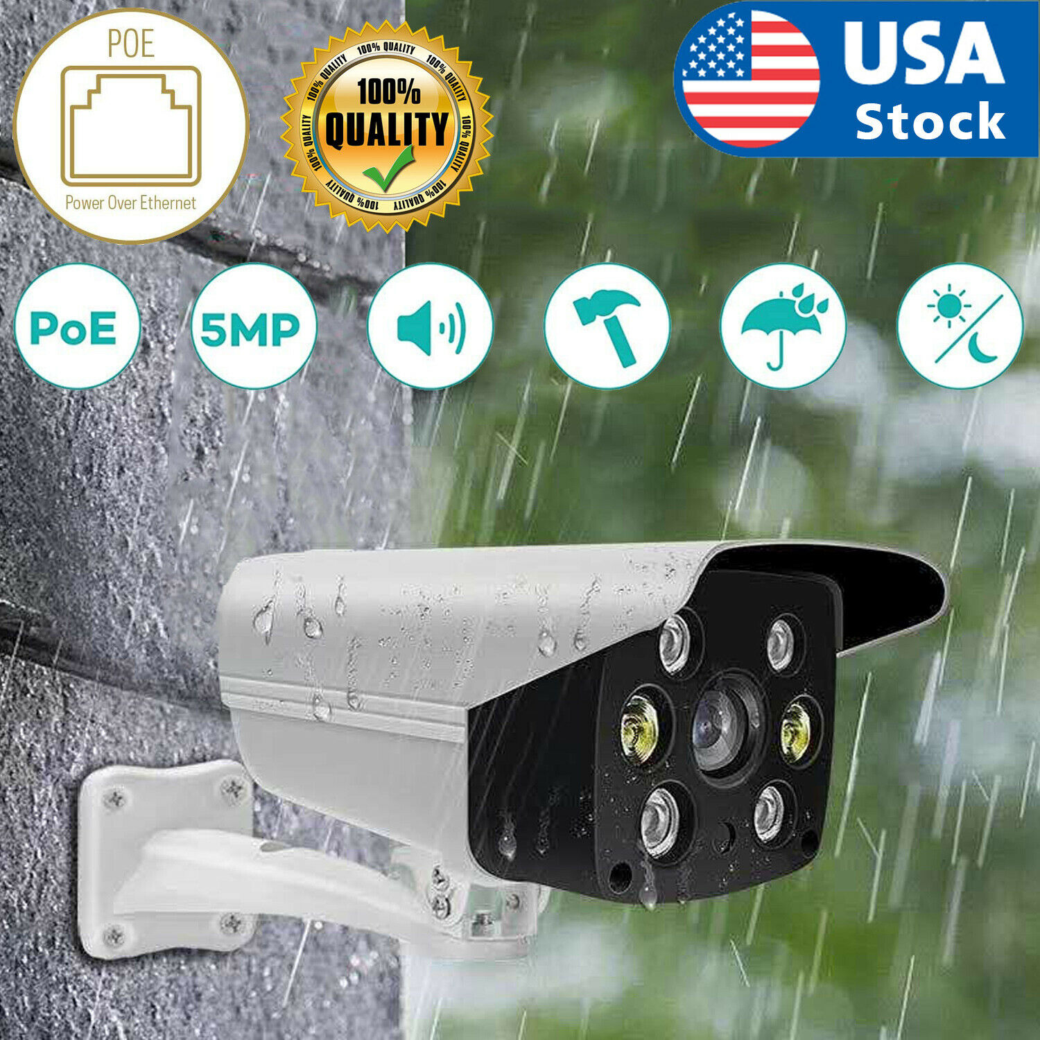 USA Outdoor Compatible ColorVu 5MP Bullet IP Camera Full Time Color 4mm CCTV POE Consumer Electronics