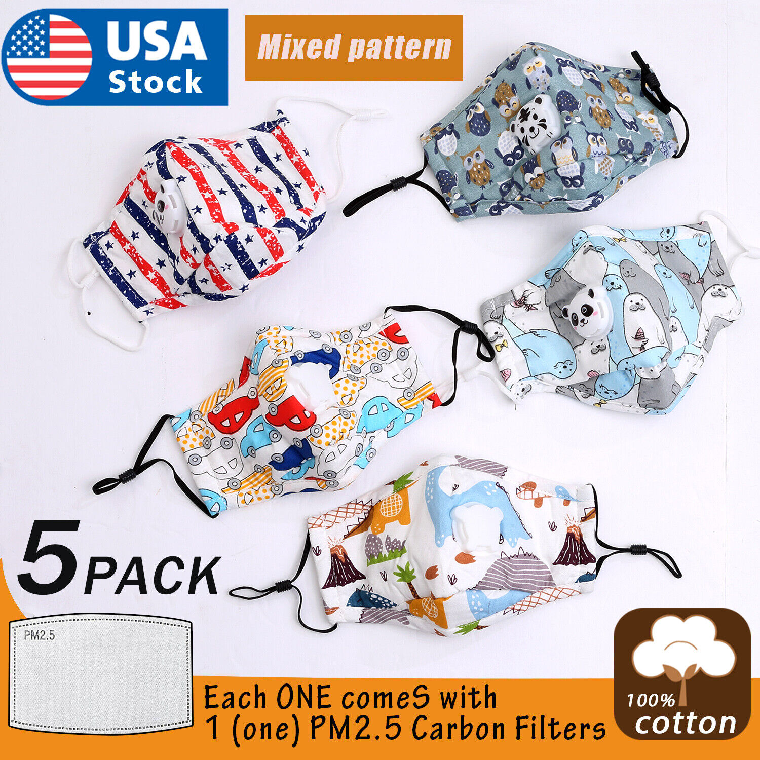 5Kids Child Toddler Reusable Cloth Face Mask with Pocket Valve + 5 PM2.5 Filters Accessories