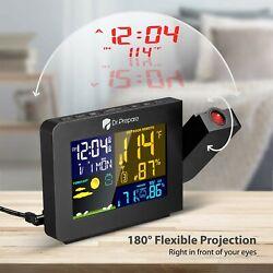 Projection Alarm Clock Indoor Outdoor Temperature Display Weather Forecast