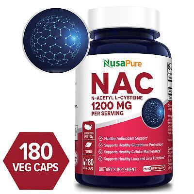 NusaPure NAC 1200mg (N-Acetyl Cysteine)  180 Veg Caps ( Non-