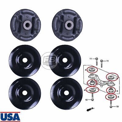 6 Rear Differential Arm Mounting Bushing+Support Rubber Set For Honda/CR-V -