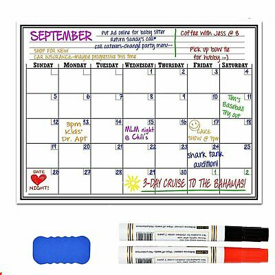 17x11 Magnetic Dry Erase Refrigerator Calendar Board Monthly Planner Reusable