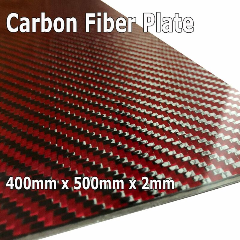 (1) Red Carbon Fiber Plate - 400mm x 500mm x 2mm Thick - 100% -3K Tow, Plain...