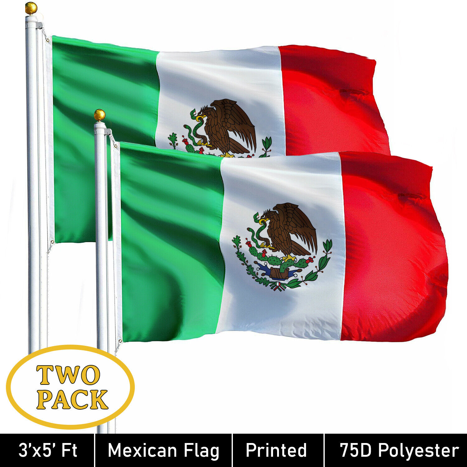 G128® TWO PACK of 3' x 5' ft Polyester Mexican Flag MEXICO