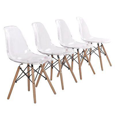 4er Set Stuhl Acryl Küchenstühle Wohnzimmerstuhl Transparent Esszimmerstühle