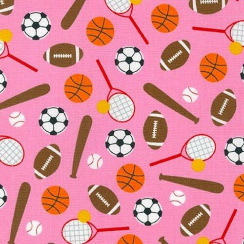 Sports Kids Sport Equipment Sweet Pink 100% Cotton Fabric by The Yard