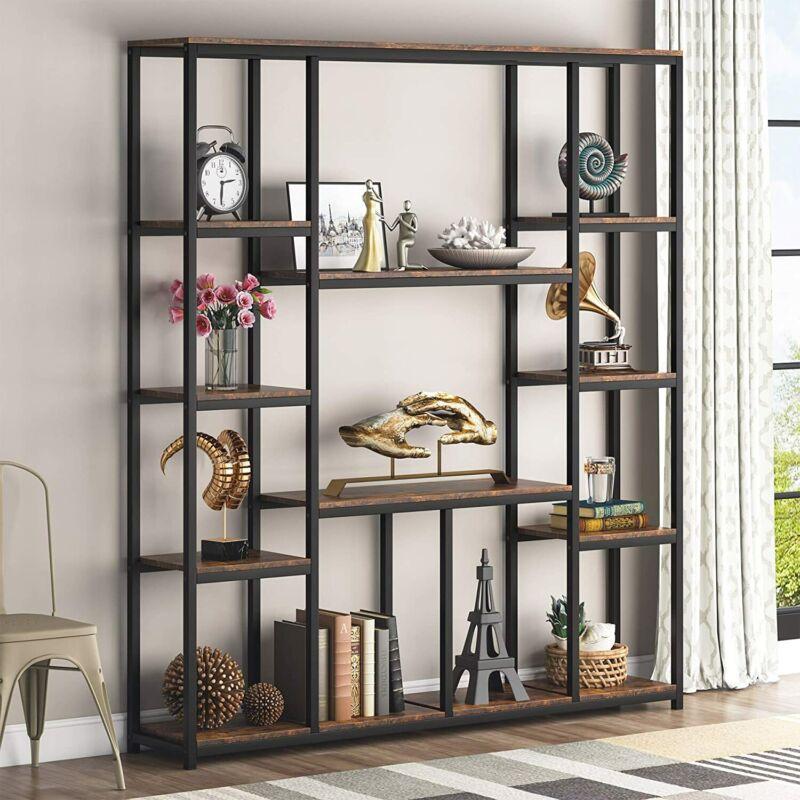 "Rustic Bookshelf Home Office Shelving Unit Multipurpose Storage Display Rack 59"""
