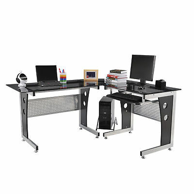 Homcom 64 L-shaped Corner Computer Desk Pc Laptop Table Office Workstation