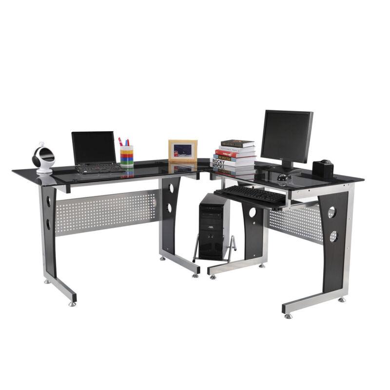 """HomCom 64"""" L-Shaped Corner Computer Desk PC Laptop Table Office Workstation"""