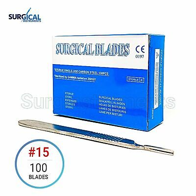 100 Scalpel Blades 15 Surgical Dental Ent Instruments With Free 3 Handle