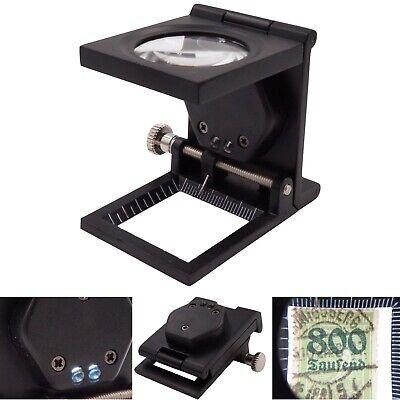 Metall Fadenzähler Lupe 10x Vergrößerung LED Juwelier Briefmarken Münzen Skala 10 Skala