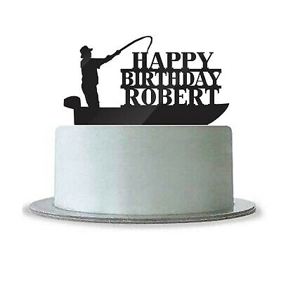 Happy Birthday Name Cake Topper Fishing Boat Fisherman (Happy Birthday Fisherman)