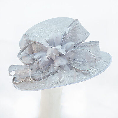 NEW Kentucky DERBY Tea Party Metallic SILVER GRAY Slant Top Wide Brim Bow HAT