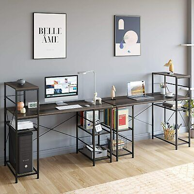 Industrial Computer Desk with Storage Shelves, 52″ Writing Desk with Bookshelf Furniture