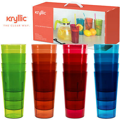 Plastic Cup Break Resistant Tumbler Glasses Assorted Acrylic Tumblers Set of 16