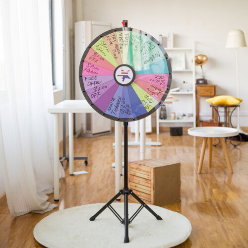 """24"""" Floor Stand Color Prize Spinning Tripod Wheel Party Win Game w/ Pen&Erase"""