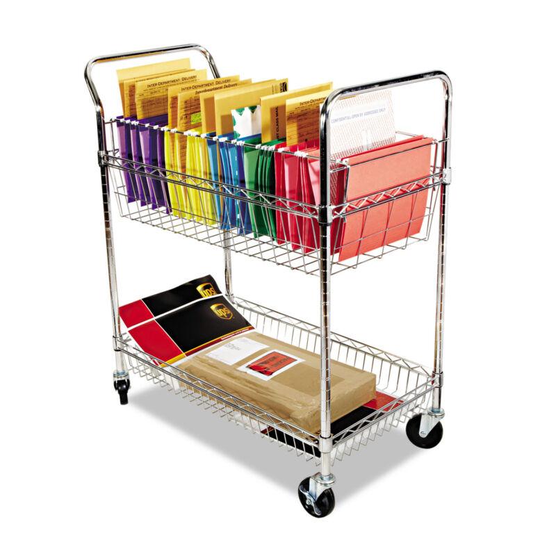 Alera MC343722CR Wire Mail Cart 2-Shelf 34-1/4w x 21-1/2d x 39-1/2h Chrome