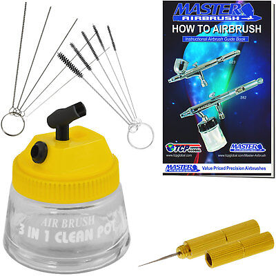 13pc Airbrush Cleaning Kit Cleaning Pot, Cleaning Needles, Brushes, Wash Needle