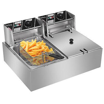 Zokop 5000w Electric Deep Fryer 12l Dual Tank Fry Machine Commercial Restaurant