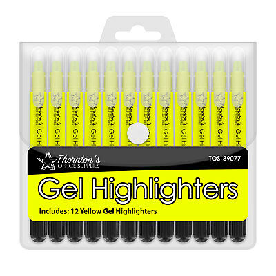 12 Thorntons Office Supplies Twist-retractable Bible Gel Highlighters Yellow