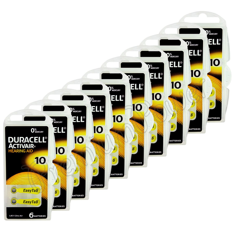 60 x Duracell Activair 10 Size Hearing aid batteries Zinc air 10 Packs EXP:2021