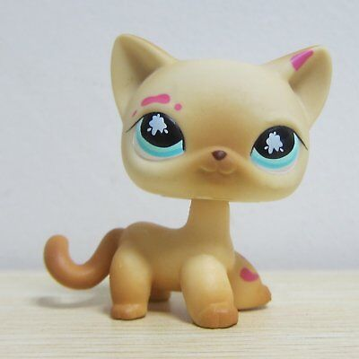 Hasbro Littlest Pet Shop Collection LPS Shorthair Cat Kitten With Pink Paint