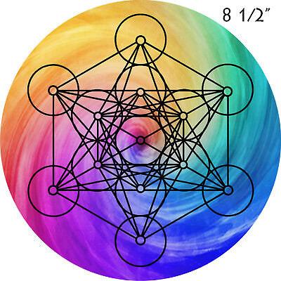 "Metatrons Cube Crystal Grid -8 1/2"" Sacred Geometry Crystal Grid Rainbow"