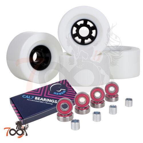 Cal 7 97mm 78A Longboard Flywheel Skateboard White Wheels + Free Bearings
