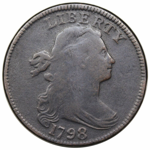 1798 Draped Bust Large Cent, Style 1 Hair, rare S-147, R5-, F detail