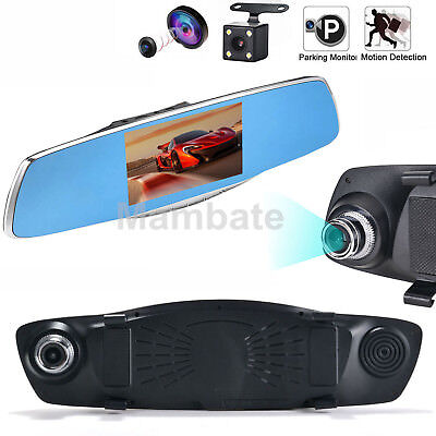 "5"" HD 1080P Car Rearview Mirror DVR Dual Lens Video Dash Cam Camera Night Vision"