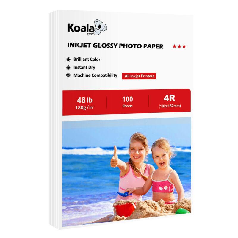 Koala 100 Sheets 4x6 Premium Glossy 48lb Inkjet Printer Photo Paper HP Canon EPN