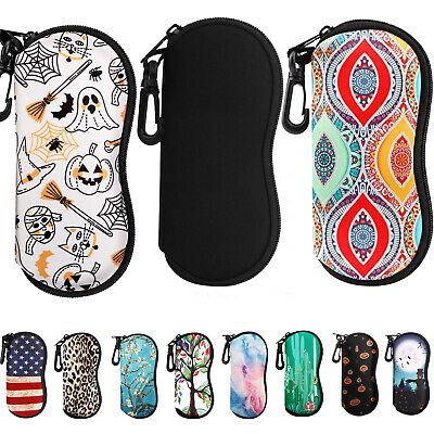MoKo Sunglasses Soft Bag Eyeglass Case Ultra Light Neoprene Zipper w/ Belt (Sunglasses Belt Case)