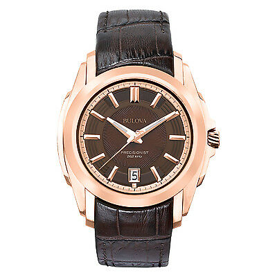 Bulova Mens 97B110 Longwood Quartz Rose Gold Case Brown Leather Strap Watch