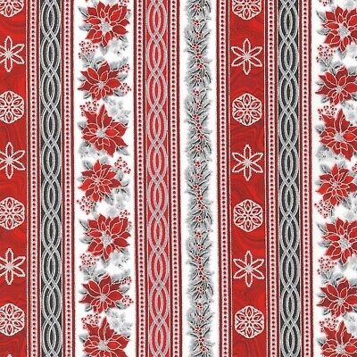 Christmas Fabric - Holiday Flourish 11 Poinsettia Stripe - Robert Kaufman -