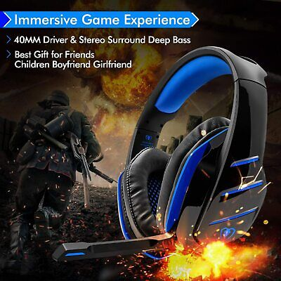 BEEXCELLENT Pro Gaming Headset GM-3 Noise Cancelling Blue Microphone LED Lights