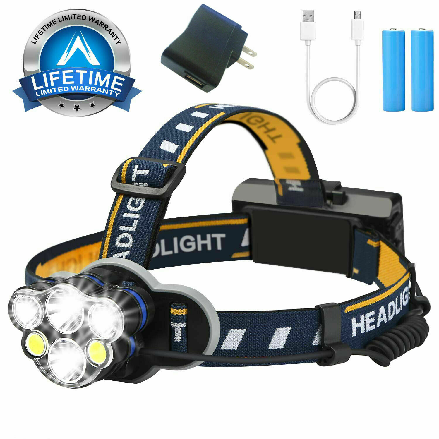 Super Bright 100000LM CREE XM-L T6 LED Headlamp Headlight Flashlight Head Torch Camping & Hiking