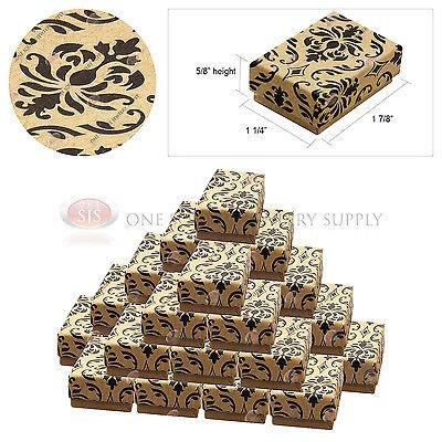 25 Kraft Damask Print Gift Jewelry Cotton Filled Boxes 1 78 X 1 14 X 58