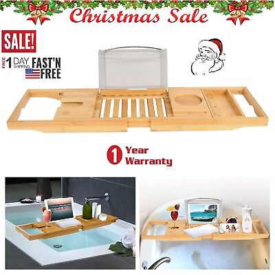 🔥Bathtub Caddy Bamboo Bath Tub Rack Tray Bathroom Cloth Book/Pad/Tablet Holder