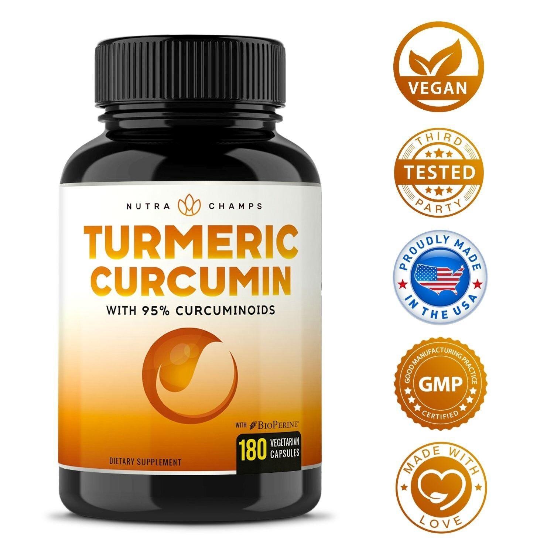 Turmeric Curcumin with BioPerine 1500mg - 180 Capsules with