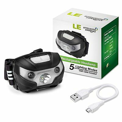 Dimmable USB Rechargeable LED Headlamp Head Light Torch 150lm 5 Mode Choices